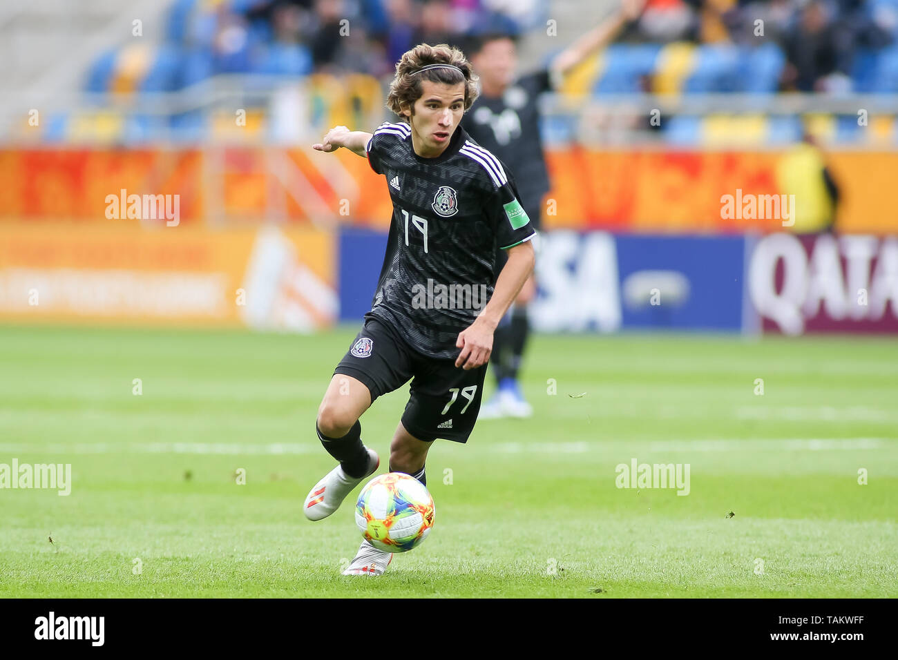 Gdynia Stadium, Gdynia, Poland - 26th May, 2019: Antonio Figueroa from Mexico seen in action during FIFA U-20 World Cup match between Mexico and Japan (GROUP B) in Gdynia. (Final score; Mexico 0:3 Japan) - Stock Image