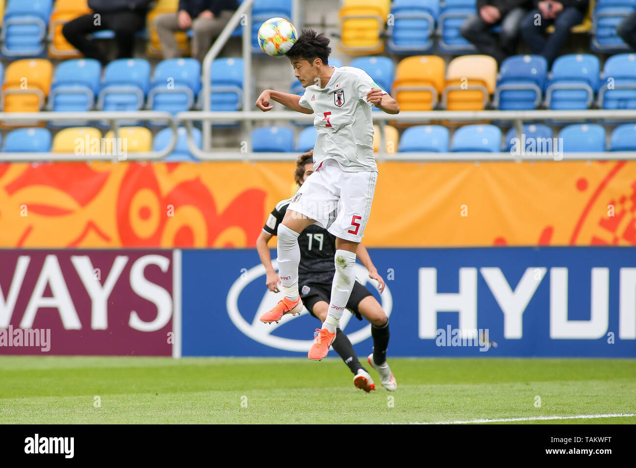 Gdynia Stadium, Gdynia, Poland - 26th May, 2019: Yukinari Sugawara from Japan and Antonio Figueroa from Mexico are seen in action during FIFA U-20 World Cup match between Mexico and Japan (GROUP B) in Gdynia. (Final score; Mexico 0:3 Japan) - Stock Image