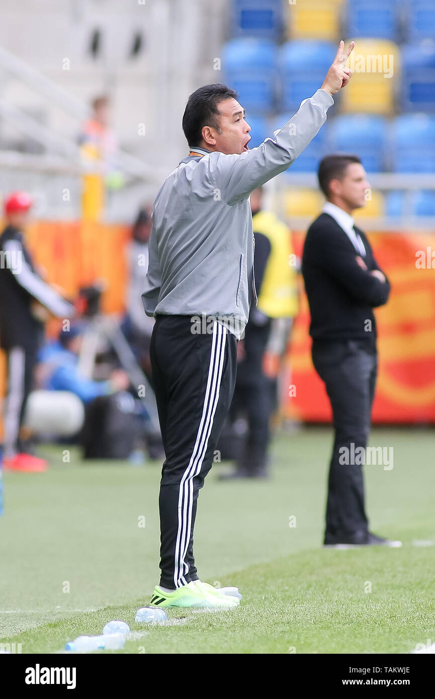 Gdynia Stadium, Gdynia, Poland - 26th May, 2019: Masanaga Kageyama, Head Coach from Japan seen signals to his players during FIFA U-20 World Cup match between Mexico and Japan (GROUP B) in Gdynia. (Final score; Mexico 0:3 Japan) - Stock Image