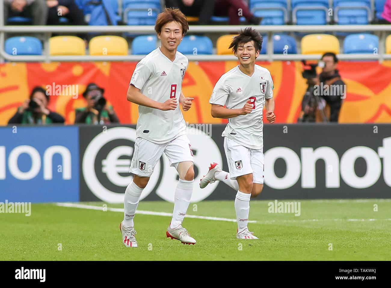 Gdynia Stadium, Gdynia, Poland - 26th May, 2019: Kanya Fujimoto(L) and Yuki Kobayashi (R) from Japan are seen celebrating after scoring a goal during FIFA U-20 World Cup match between Mexico and Japan (GROUP B) in Gdynia. (Final score; Mexico 0:3 Japan) - Stock Image