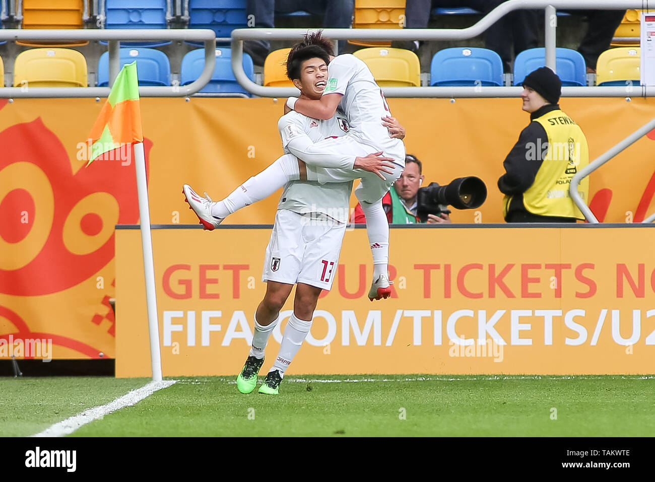Gdynia Stadium, Gdynia, Poland - 26th May, 2019: Taisei Miyashiro(L) and Kota Yamada (R) from Japan are seen celebrating scoring his teams first goal of the game during FIFA U-20 World Cup match between Mexico and Japan (GROUP B) in Gdynia. (Final score; Mexico 0:3 Japan) - Stock Image