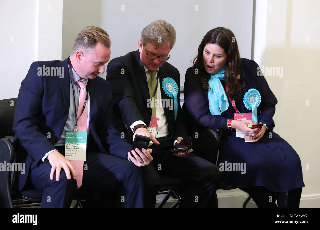 Brexit candidate Karina Walker(R) during the European Parliamentary elections count at the City Chambers in Edinburgh. Stock Photo