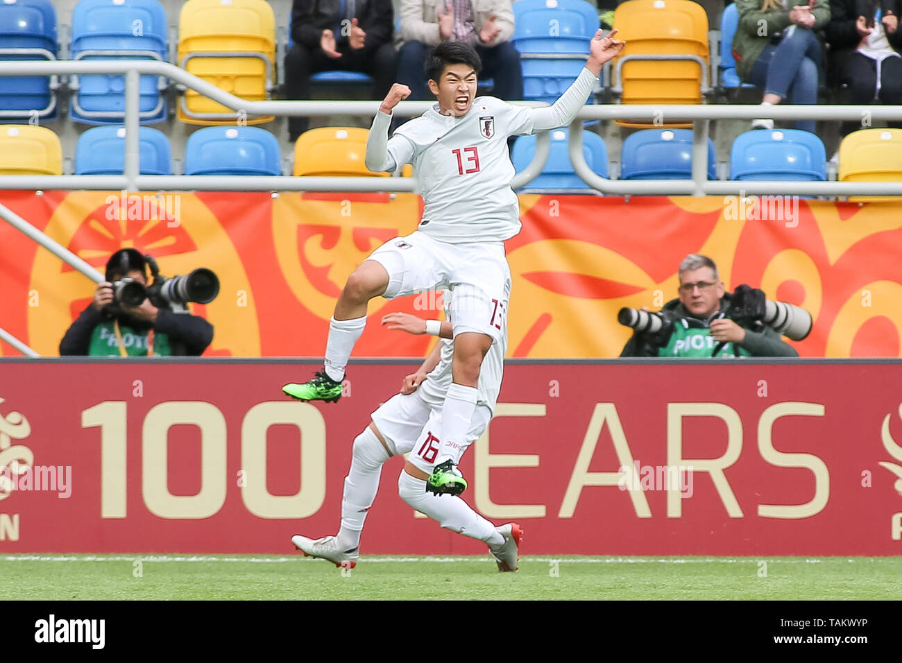 Gdynia Stadium, Gdynia, Poland - 26th May, 2019: Taisei Miyashiro from Japan seen celebrating after scoring a goal during FIFA U-20 World Cup match between Mexico and Japan (GROUP B) in Gdynia. (Final score; Mexico 0:3 Japan) - Stock Image