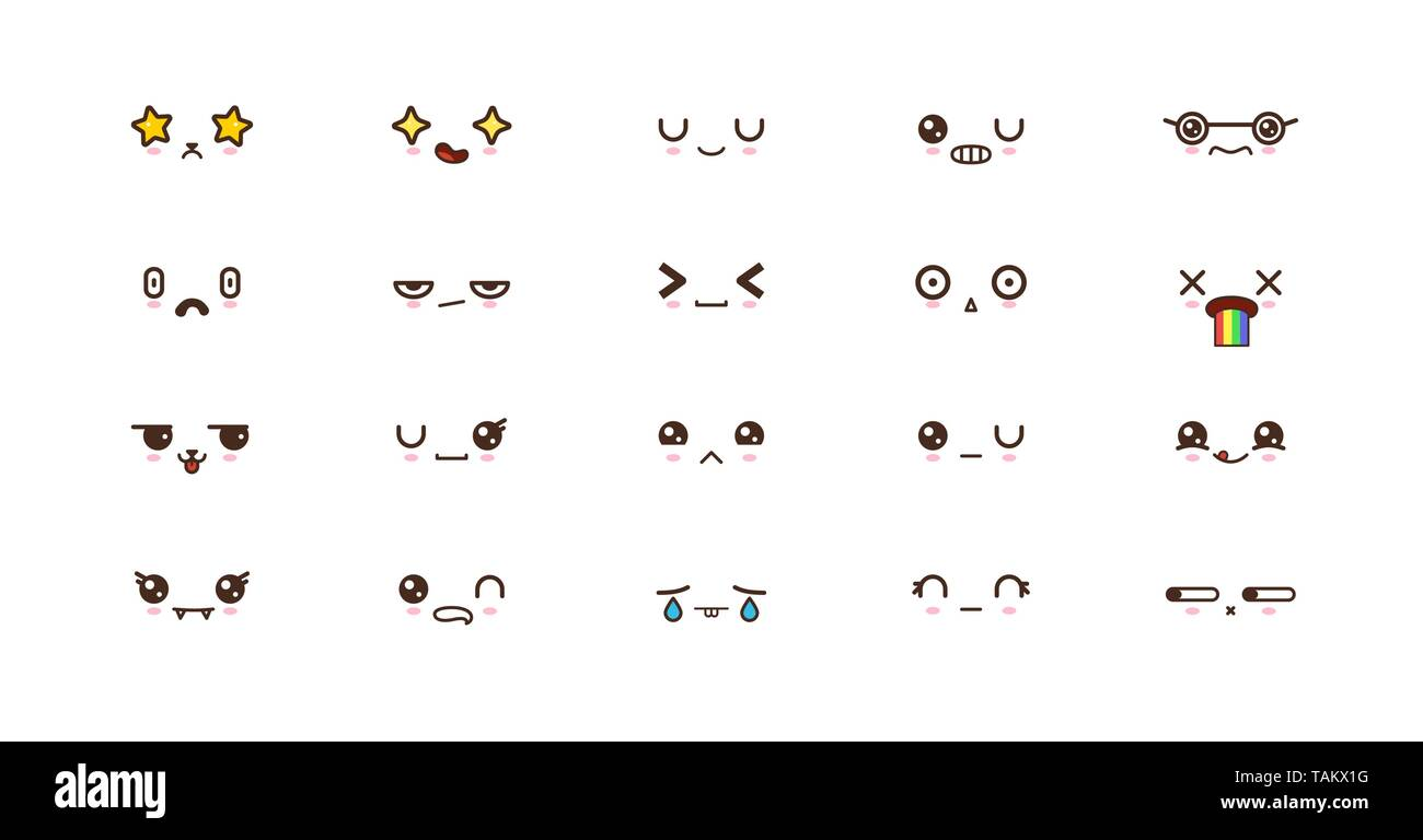Kawaii icons faces expressions cute smile emoticons. Japanese emoji - Stock Image
