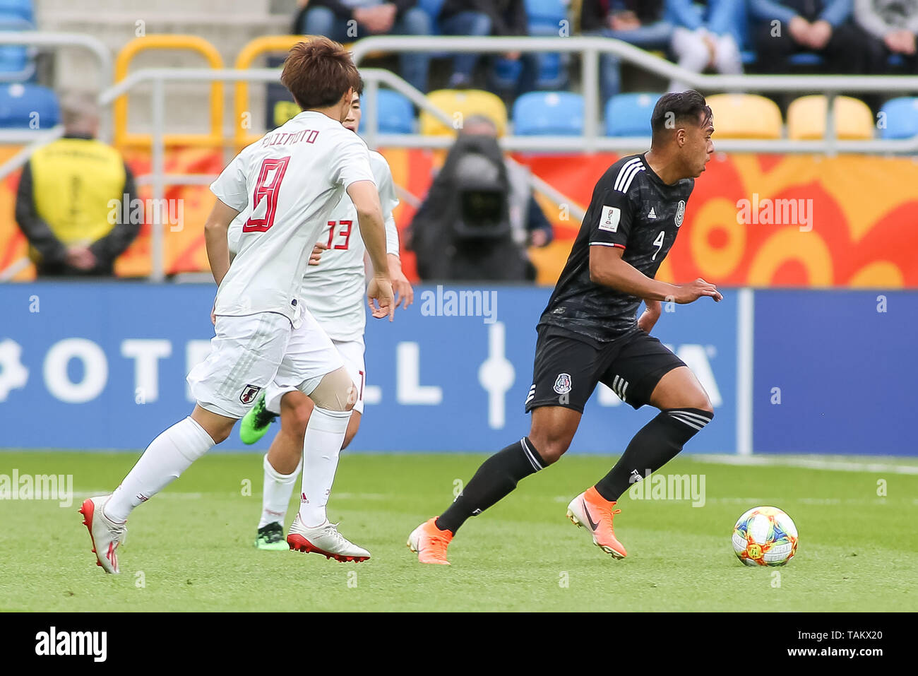 Gdynia Stadium, Gdynia, Poland - 26th May, 2019: Efrain Orona (R) from Mexico and Koki Saito (L) from Japan seen in action during FIFA U-20 World Cup match between Mexico and Japan (GROUP B) in Gdynia. (Final score; Mexico 0:3 Japan) - Stock Image