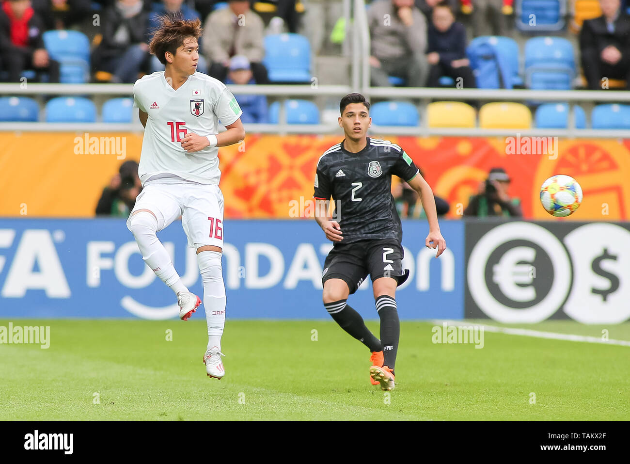 Gdynia Stadium, Gdynia, Poland - 26th May, 2019: Kota Yamada from Japan and Kevin Alvarez from Mexico seen in action during FIFA U-20 World Cup match between Mexico and Japan (GROUP B) in Gdynia. (Final score; Mexico 0:3 Japan) - Stock Image