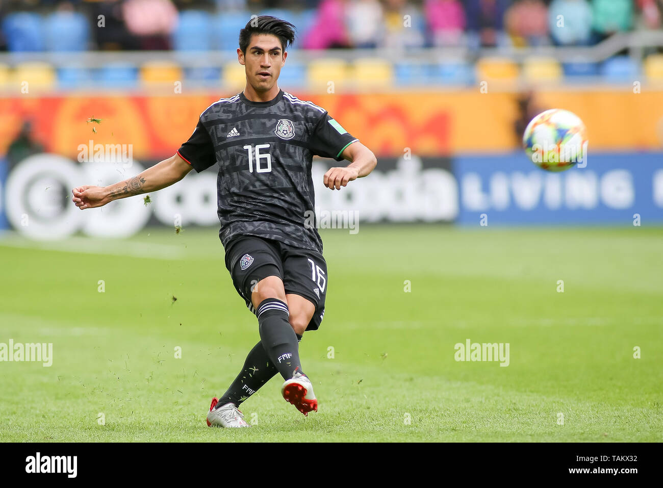 Gdynia Stadium, Gdynia, Poland - 26th May, 2019: Roberto Meraz from Mexico seen in action during FIFA U-20 World Cup match between Mexico and Japan (GROUP B) in Gdynia. (Final score; Mexico 0:3 Japan) - Stock Image