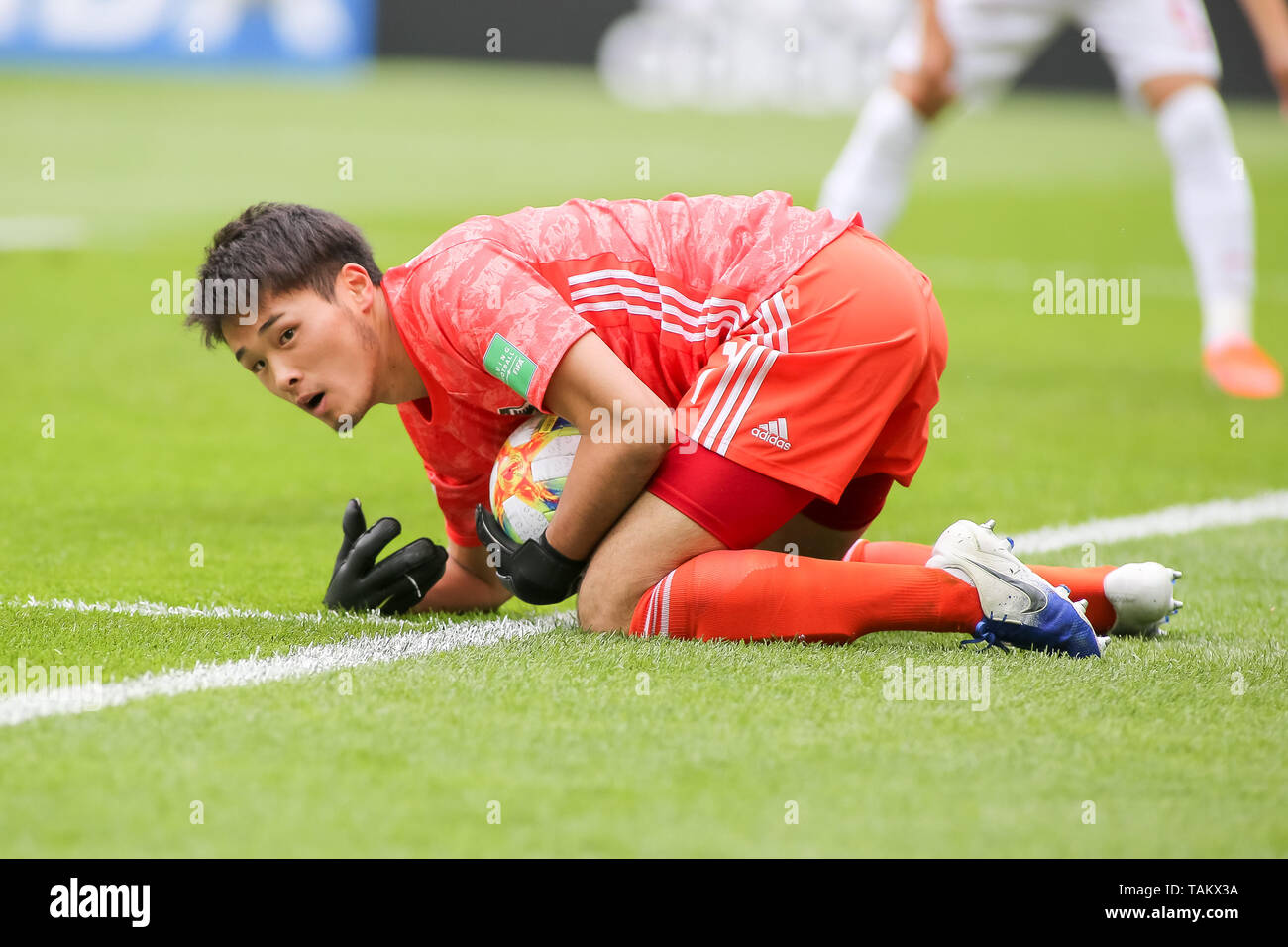 Gdynia Stadium, Gdynia, Poland - 26th May, 2019: Tomoya Wakahara from Japan seen in action during FIFA U-20 World Cup match between Mexico and Japan (GROUP B) in Gdynia. (Final score; Mexico 0:3 Japan) - Stock Image