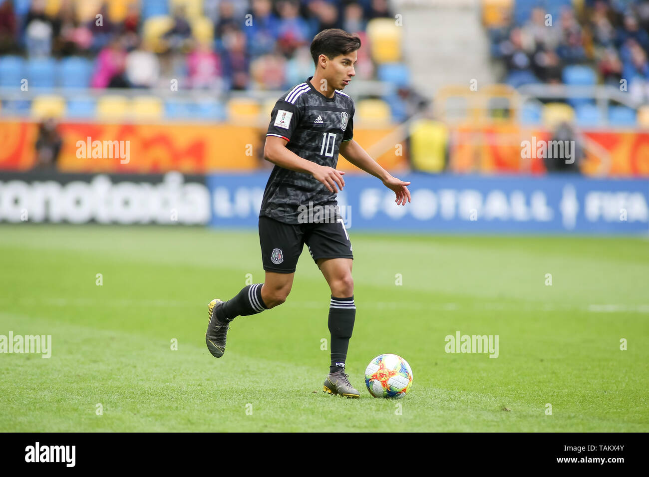 Gdynia Stadium, Gdynia, Poland - 26th May, 2019: Diego Lainez from Mexico seen in action during FIFA U-20 World Cup match between Mexico and Japan (GROUP B) in Gdynia. (Final score; Mexico 0:3 Japan) - Stock Image