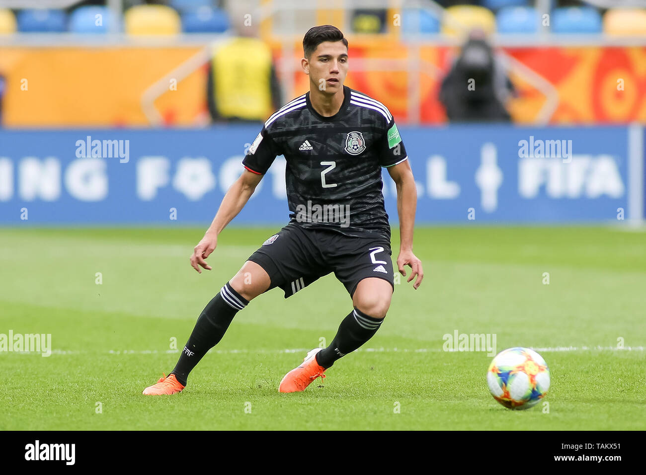 Gdynia Stadium, Gdynia, Poland - 26th May, 2019: Kevin Alvarez from Mexico seen in action during FIFA U-20 World Cup match between Mexico and Japan (GROUP B) in Gdynia. (Final score; Mexico 0:3 Japan) - Stock Image