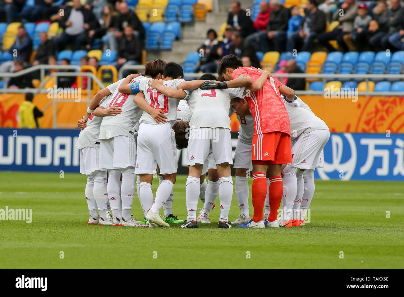 Gdynia Stadium, Gdynia, Poland - 26th May, 2019: National team of Japan seen in action during FIFA U-20 World Cup match between Mexico and Japan (GROUP B) in Gdynia. (Final score; Mexico 0:3 Japan) - Stock Image