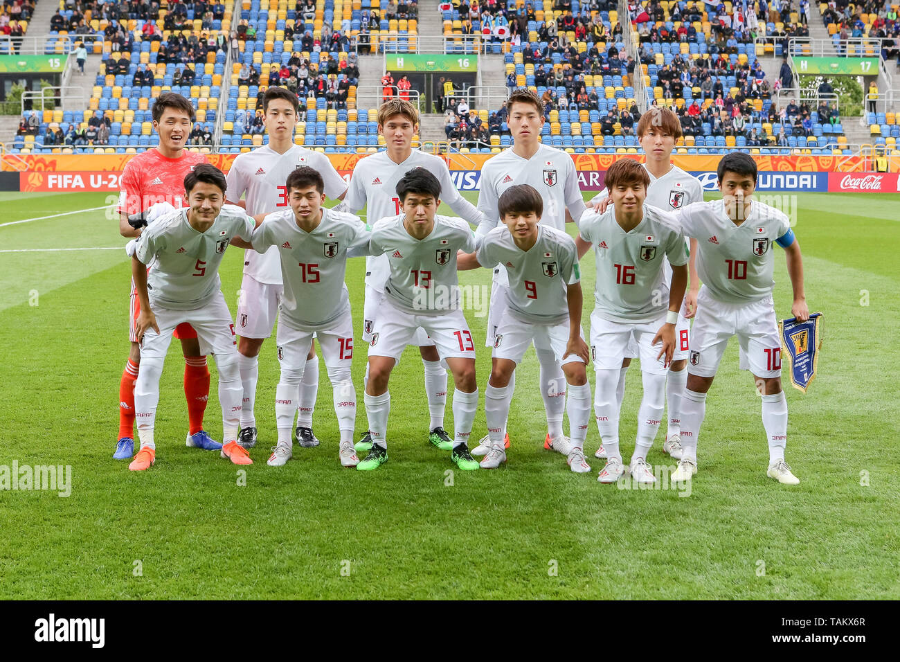 Gdynia Stadium, Gdynia, Poland - 26th May, 2019: National team of Japan seen during group photo before FIFA U-20 World Cup match between Mexico and Japan (GROUP B) in Gdynia. (Final score; Mexico 0:3 Japan) - Stock Image