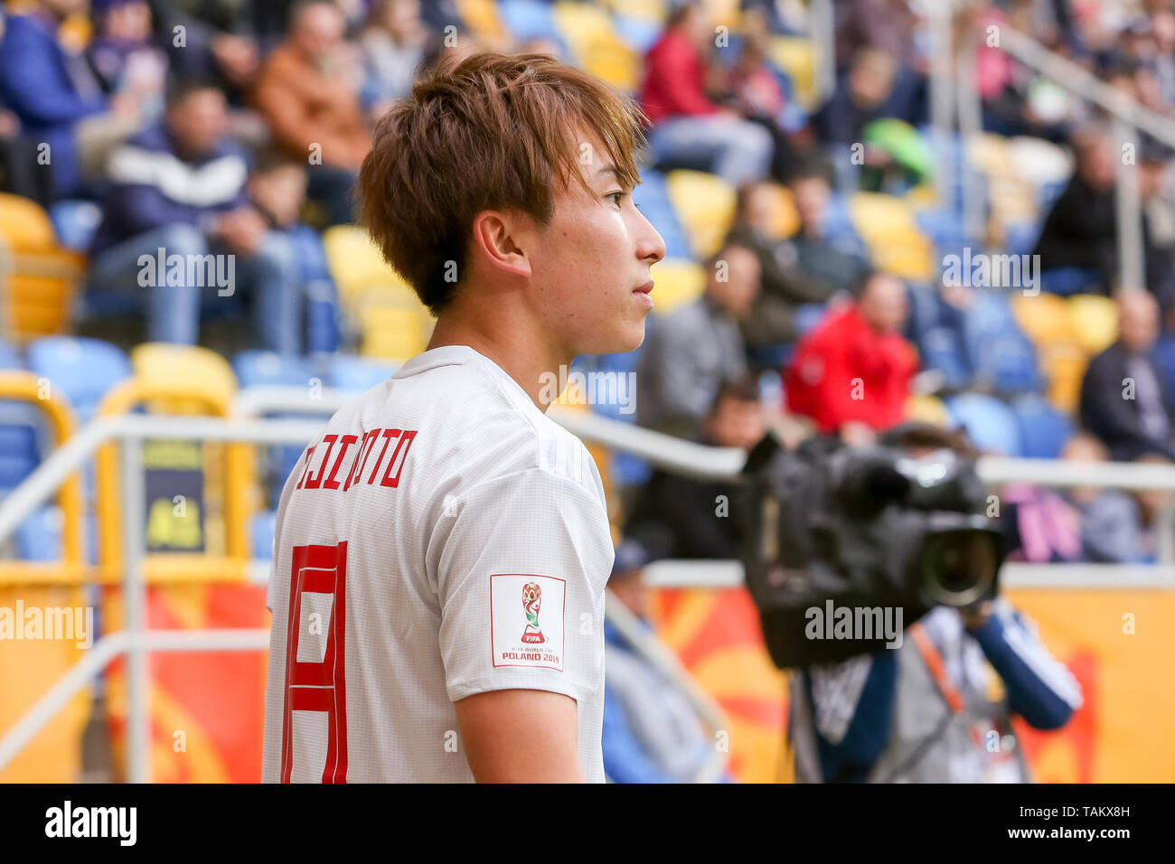 Gdynia Stadium, Gdynia, Poland - 26th May, 2019: Kanya Fujimoto from Japan seen in action during FIFA U-20 World Cup match between Mexico and Japan (GROUP B) in Gdynia. (Final score; Mexico 0:3 Japan) - Stock Image