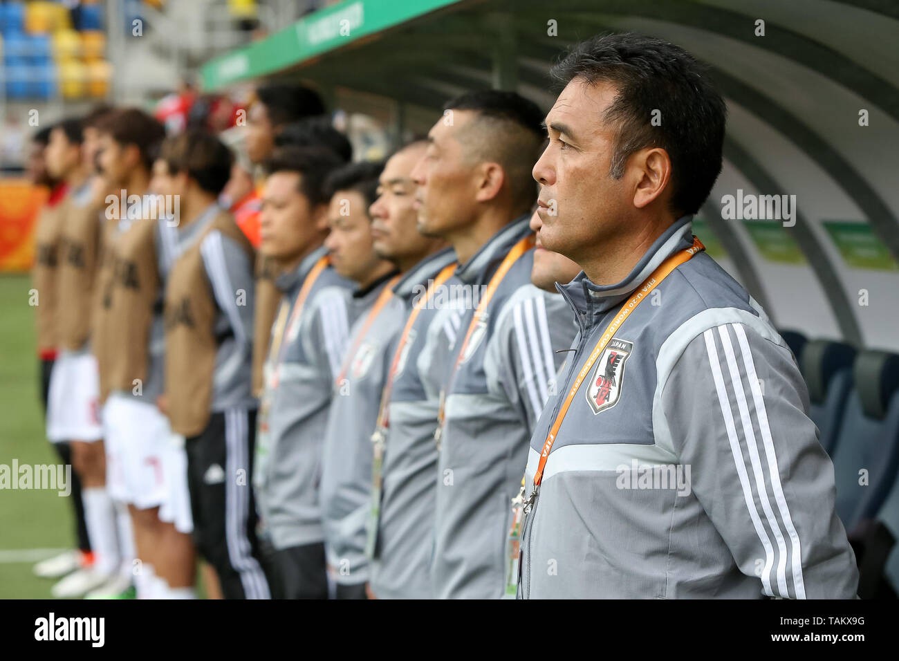 Gdynia Stadium, Gdynia, Poland - 26th May, 2019: Masanaga Kageyama, Head Coach from Japan seen before FIFA U-20 World Cup match between Mexico and Japan (GROUP B) in Gdynia. (Final score; Mexico 0:3 Japan) - Stock Image