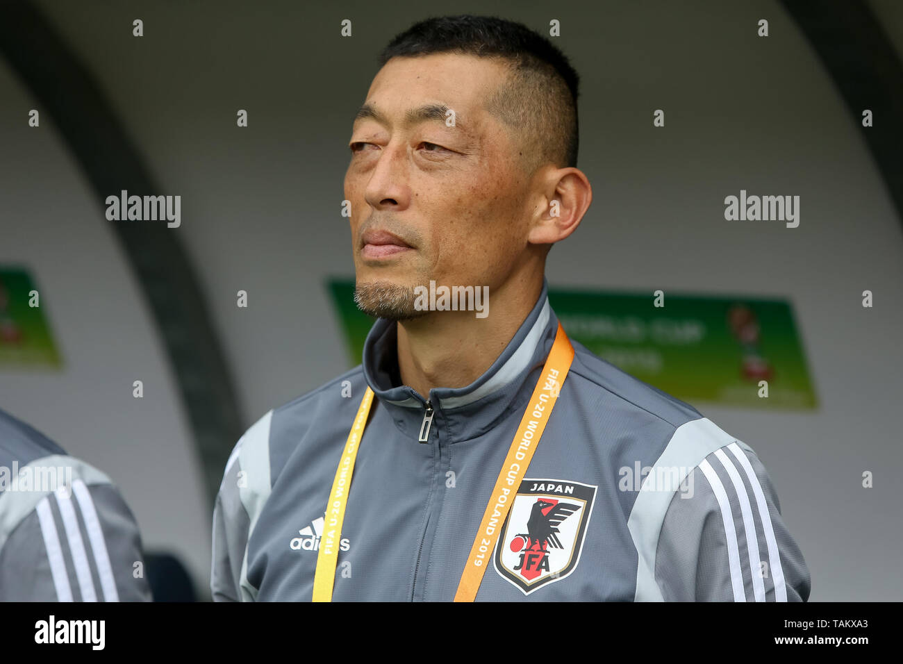 Gdynia Stadium, Gdynia, Poland - 26th May, 2019: Norio Takahashi, goalkeeper coach from Japan seen during FIFA U-20 World Cup match between Mexico and Japan (GROUP B) in Gdynia. (Final score; Mexico 0:3 Japan) - Stock Image