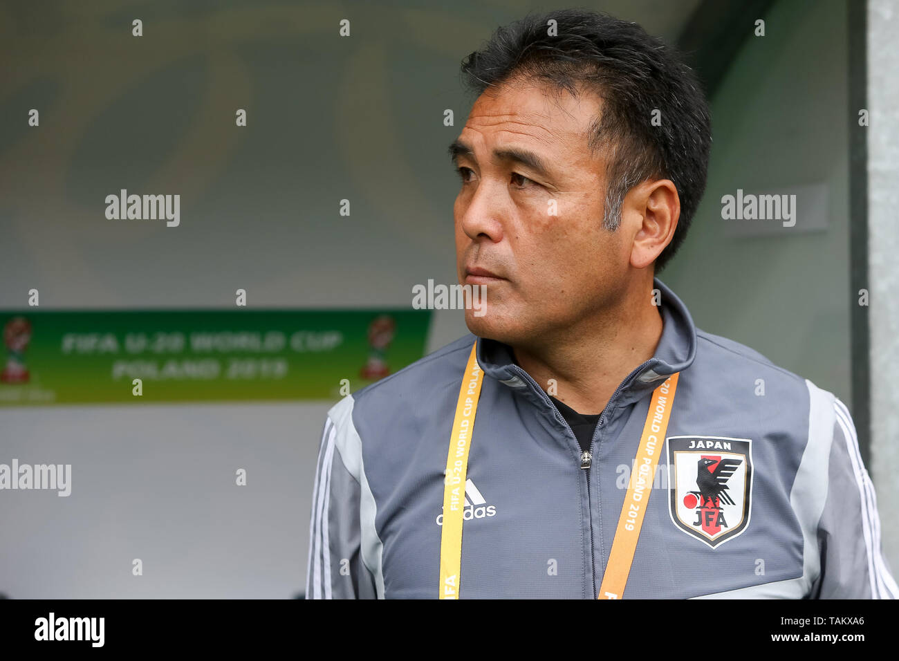 Gdynia Stadium, Gdynia, Poland - 26th May, 2019: Masanaga Kageyama, Head Coach from Japan seen during FIFA U-20 World Cup match between Mexico and Japan (GROUP B) in Gdynia. (Final score; Mexico 0:3 Japan) - Stock Image