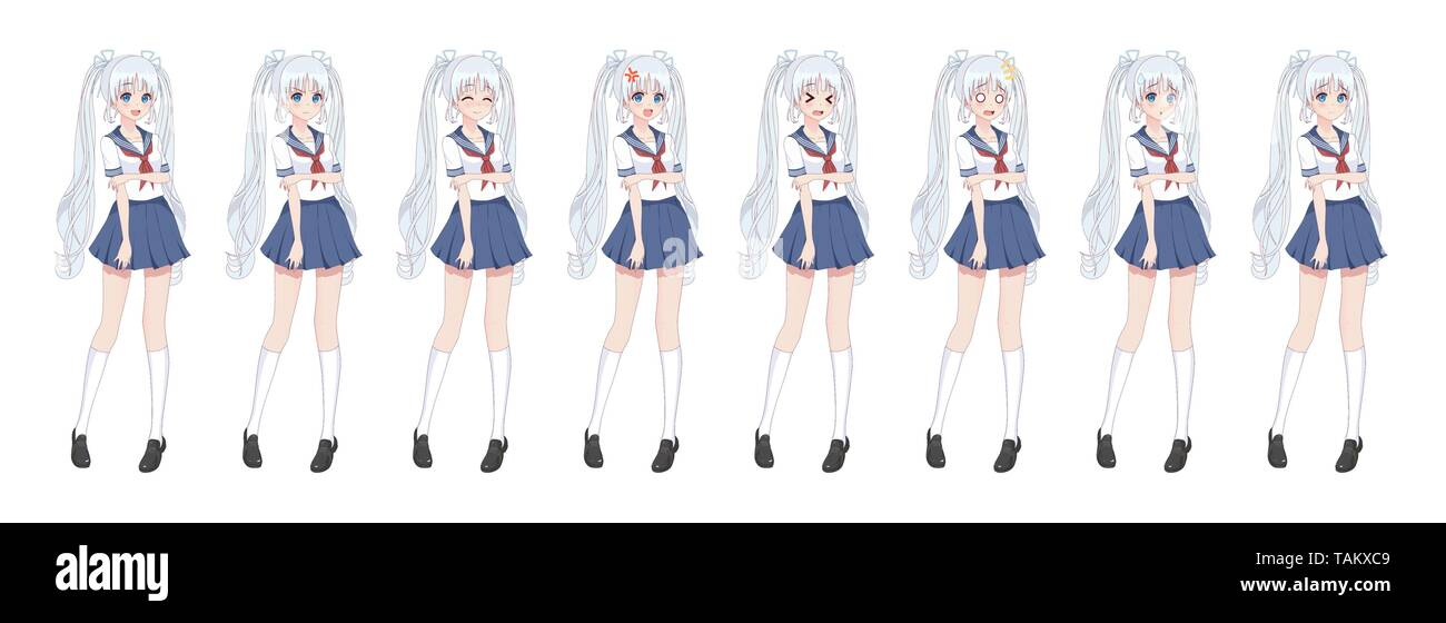 Anime manga girl, Cartoon character in Japanese style.School girl in a sailor suit, blue skirt.Set of emotions.Sprite full length character for game v - Stock Image