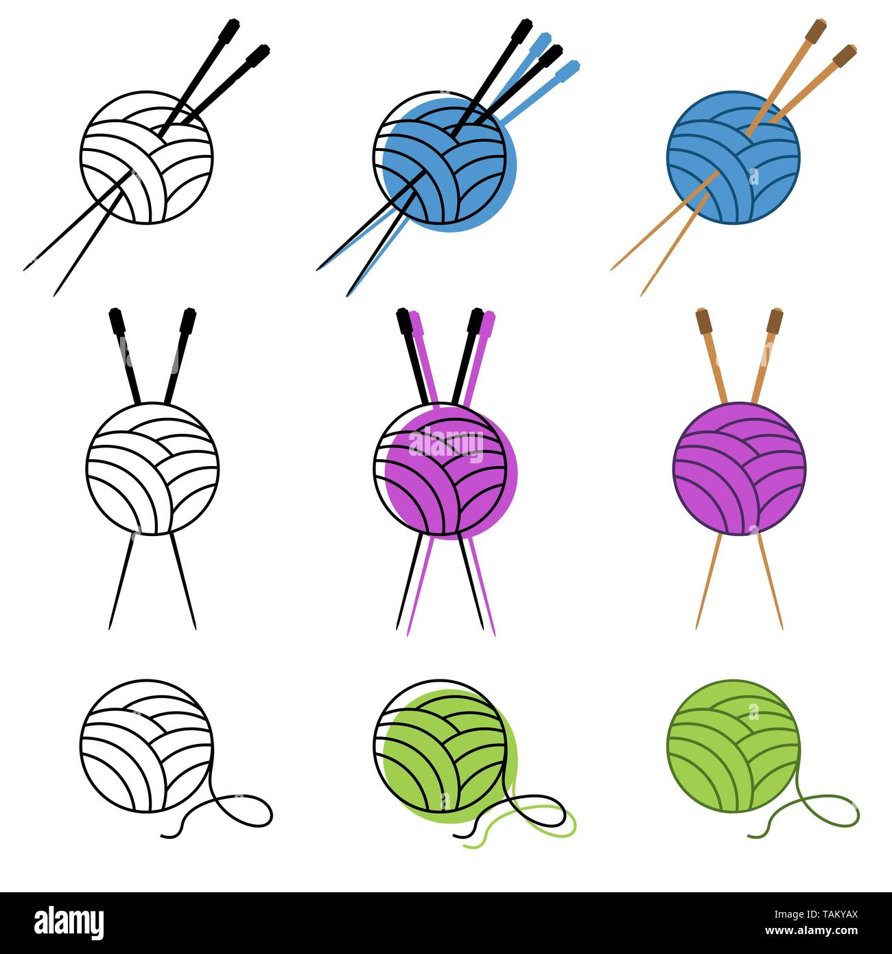knitting icon set vector in different colors. vector illustration - Stock Vector
