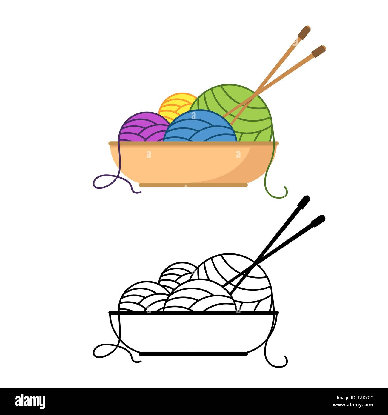 Multicolored balls of yarn lie in a bowl with knitting needles Vector illustration - Stock Vector