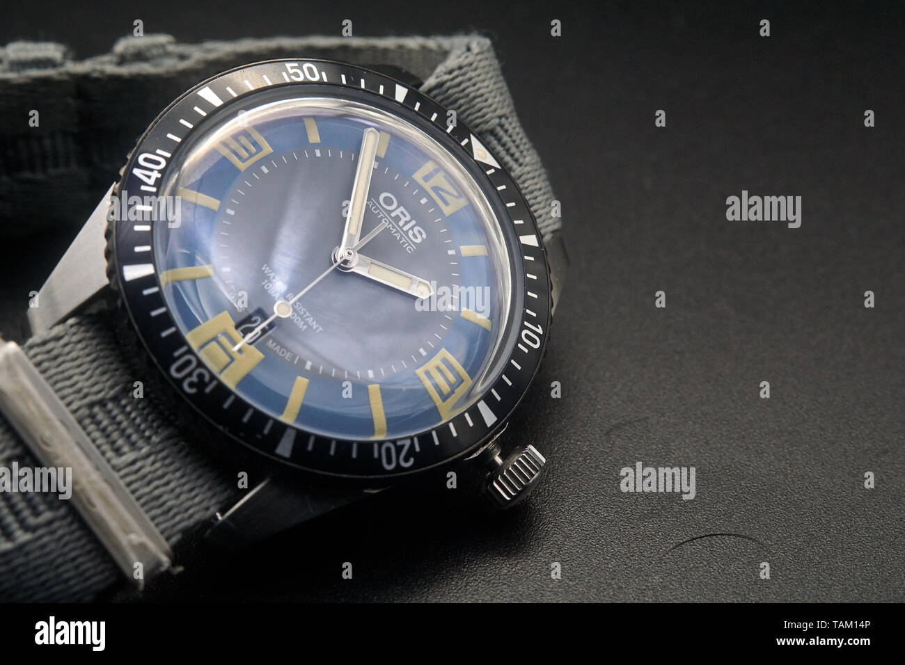 high resolution images of an Oris Sixty Five Heritage Diver, a swiss automatic watch Stock Photo