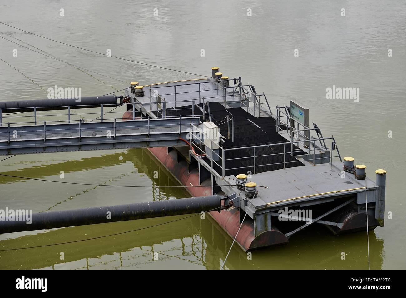shipping pier in Linz an der Donau, Austria - Stock Image