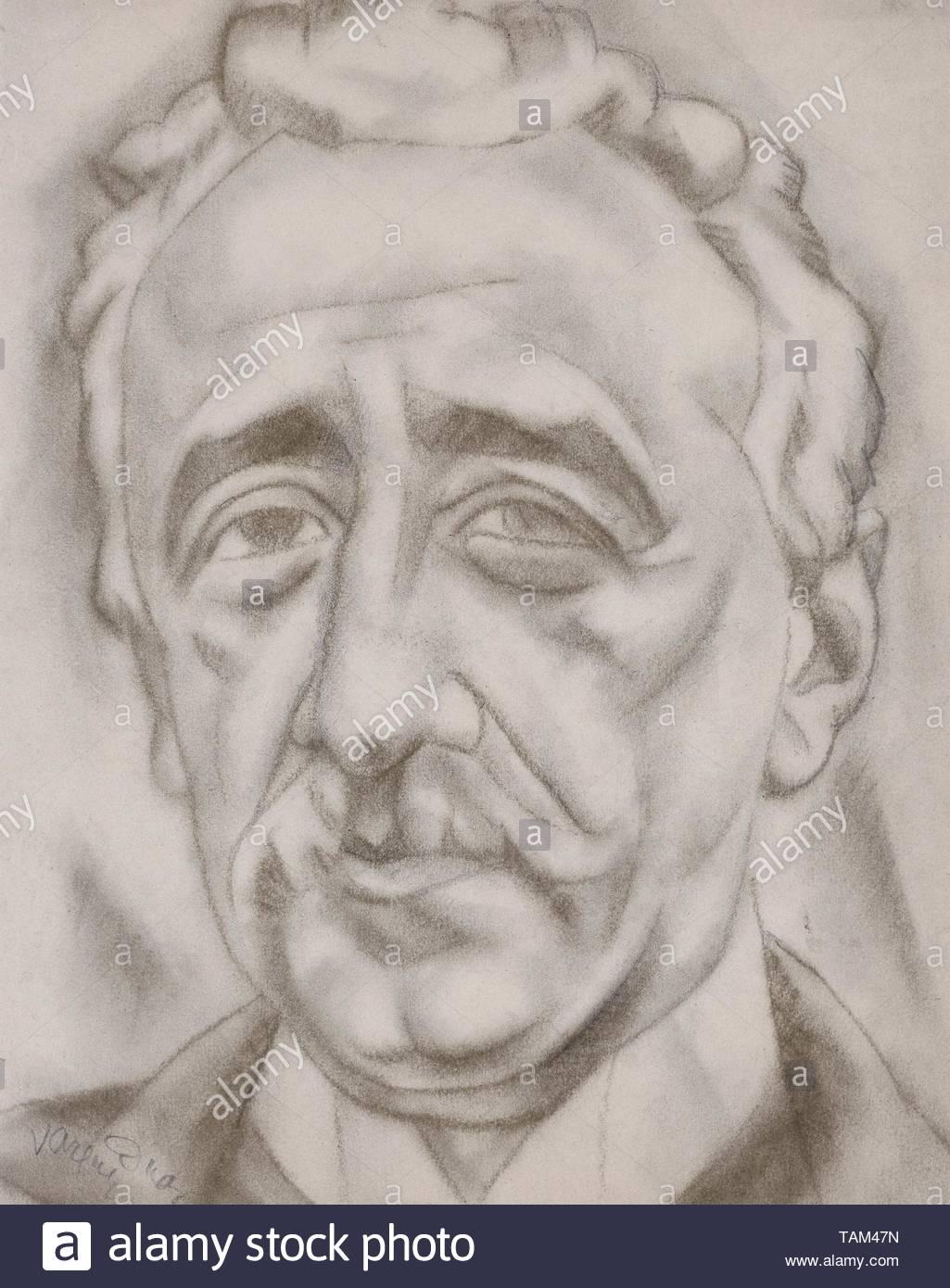 RETRATO MASCULINO - SIGLO XX - DIBUJO. Author: DANIEL VAZQUEZ DIAZ. Location: PRIVATE COLLECTION. MADRID. SPAIN. - Stock Image