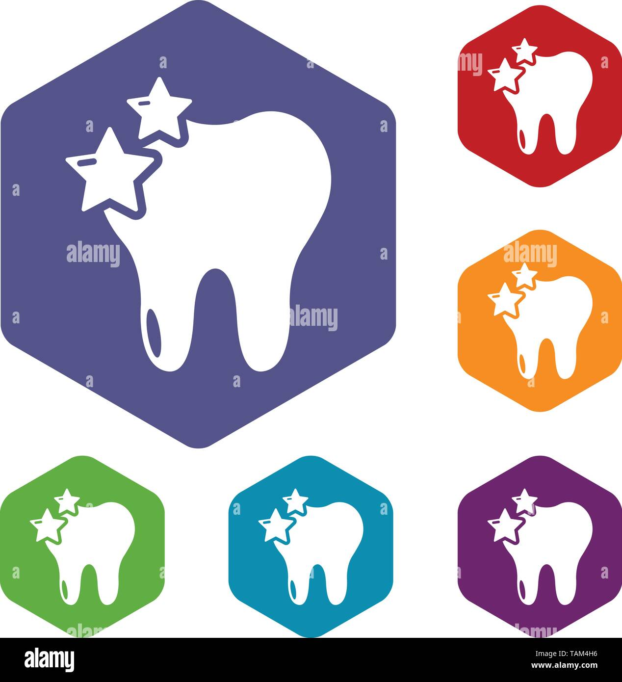 Tooth icons vector hexahedron - Stock Image