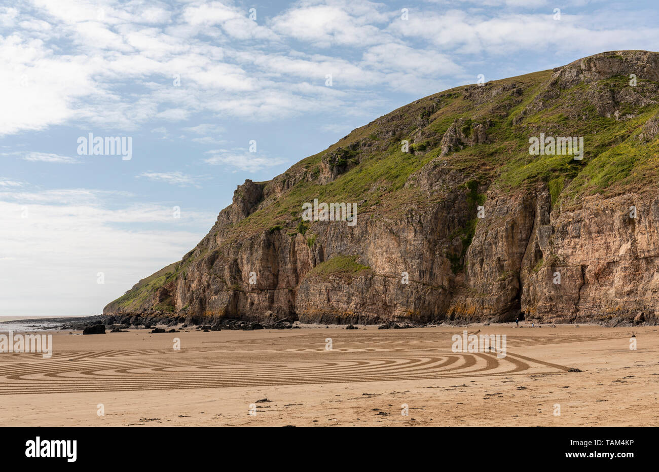 The cliffs on the south side of Brean Down, Somerset, England - Stock Image