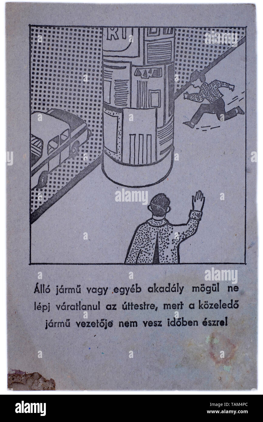 educational road safety card for children 1970s hungary Stock Photo