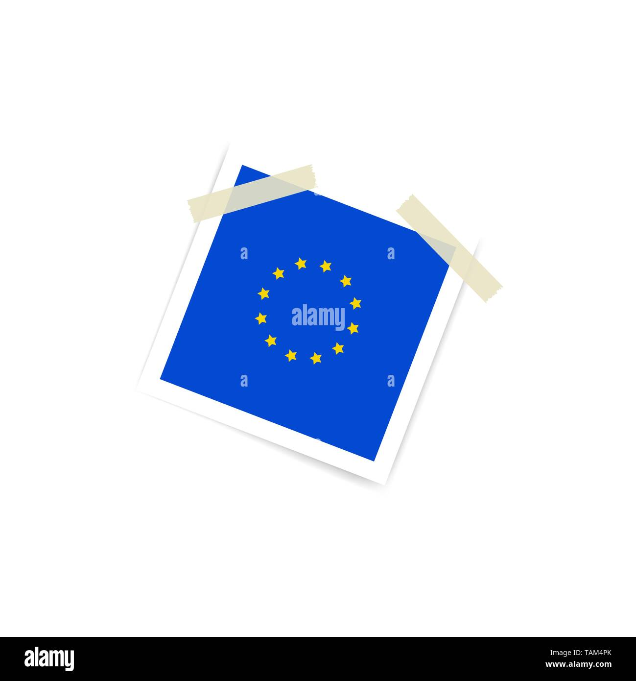Collection of blank photo frames sticked with european flag on duct tape to white background. Template mockups for design. Vector illustration Stock Vector