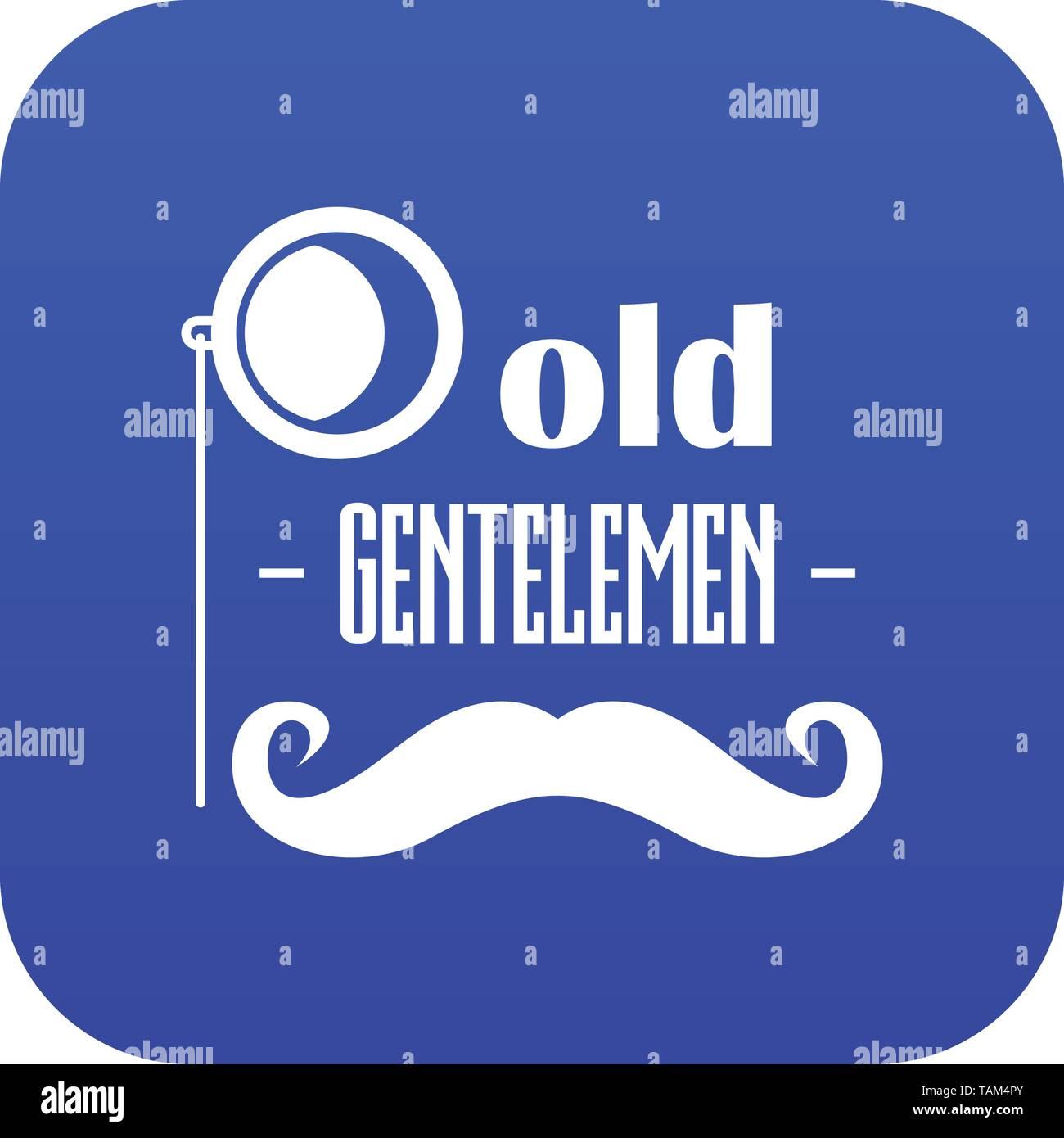 Old gentlemen icon blue vector - Stock Image