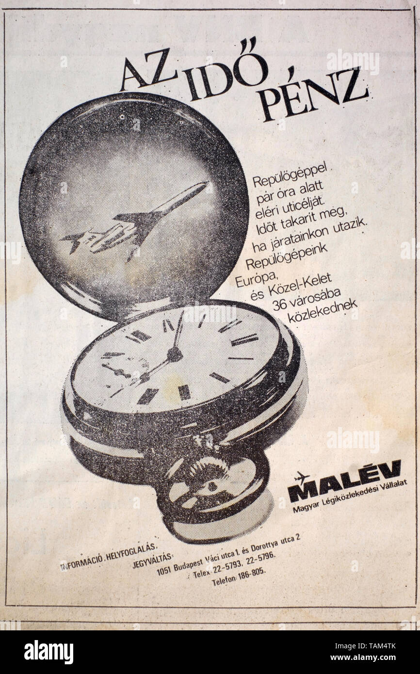 newspaper advertisement for the now defunct hungarian national airline malev 1978 hungary Stock Photo