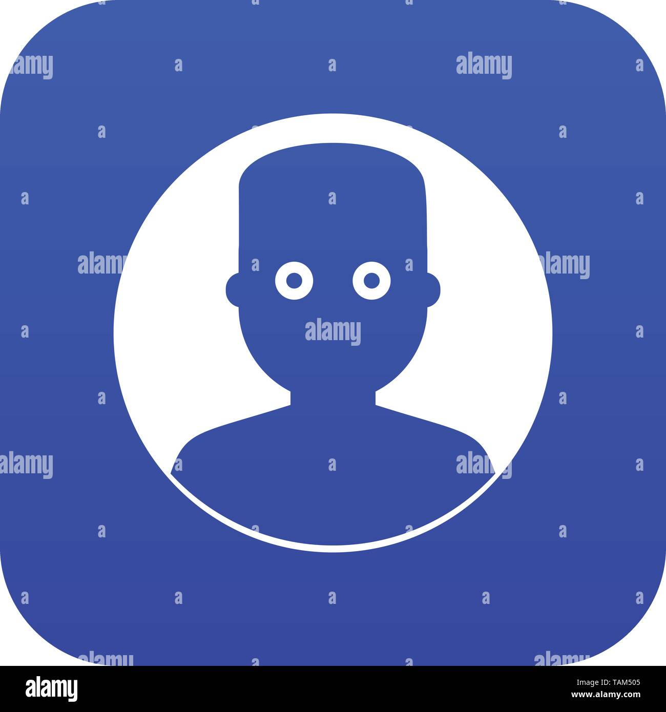 Man in the dark icon digital blue - Stock Image