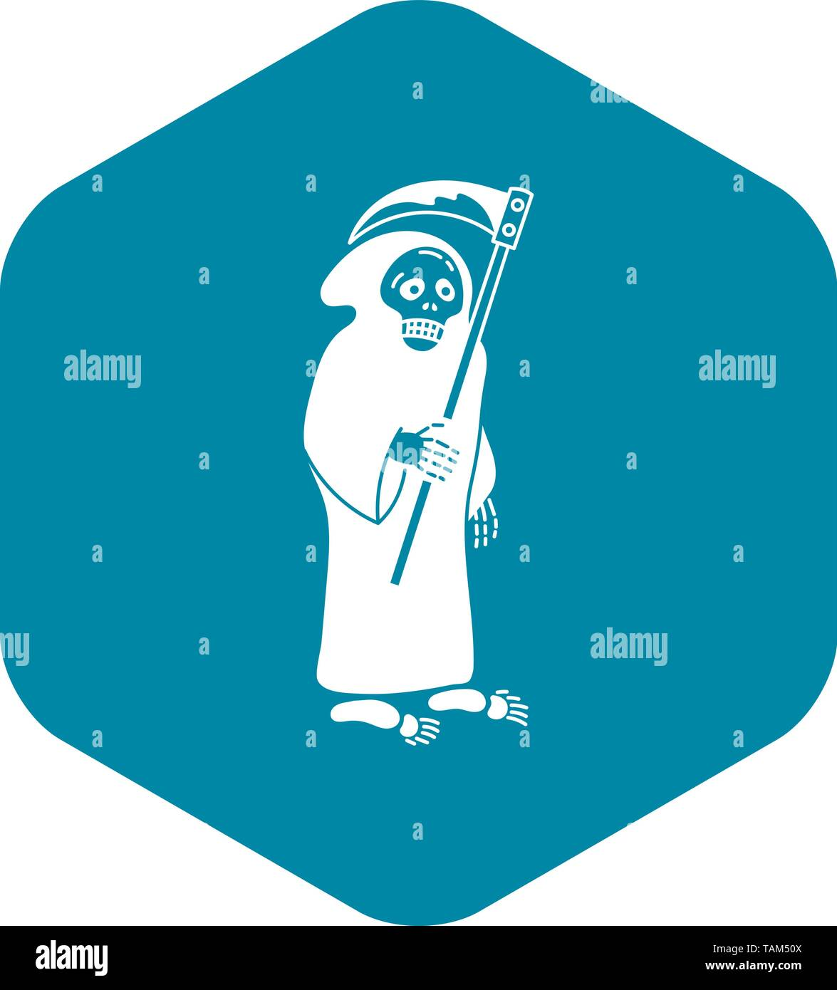 Death with scythe icon, simple style - Stock Image