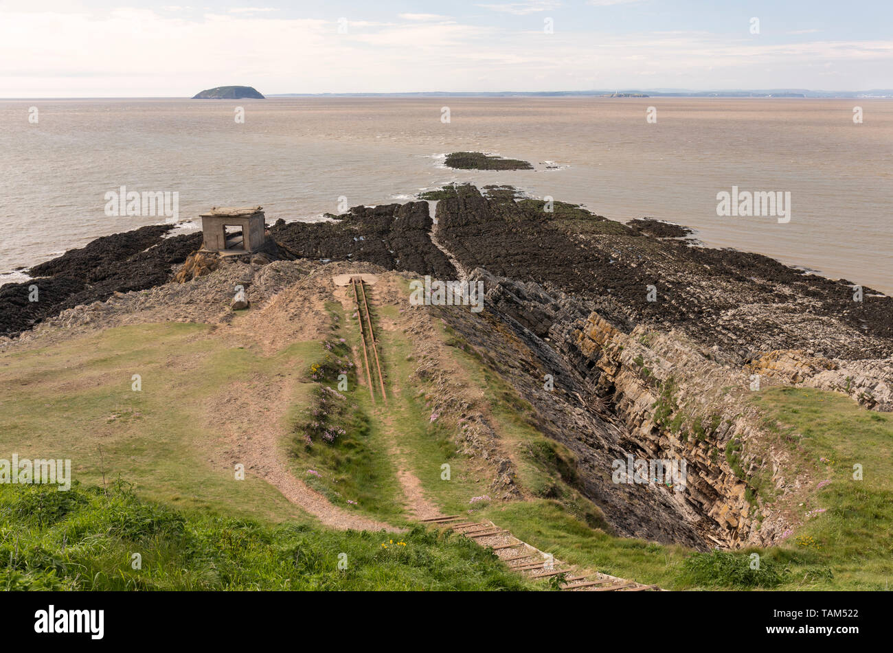 Searchlight post - Brean Down Fort, Somerset, England - Stock Image