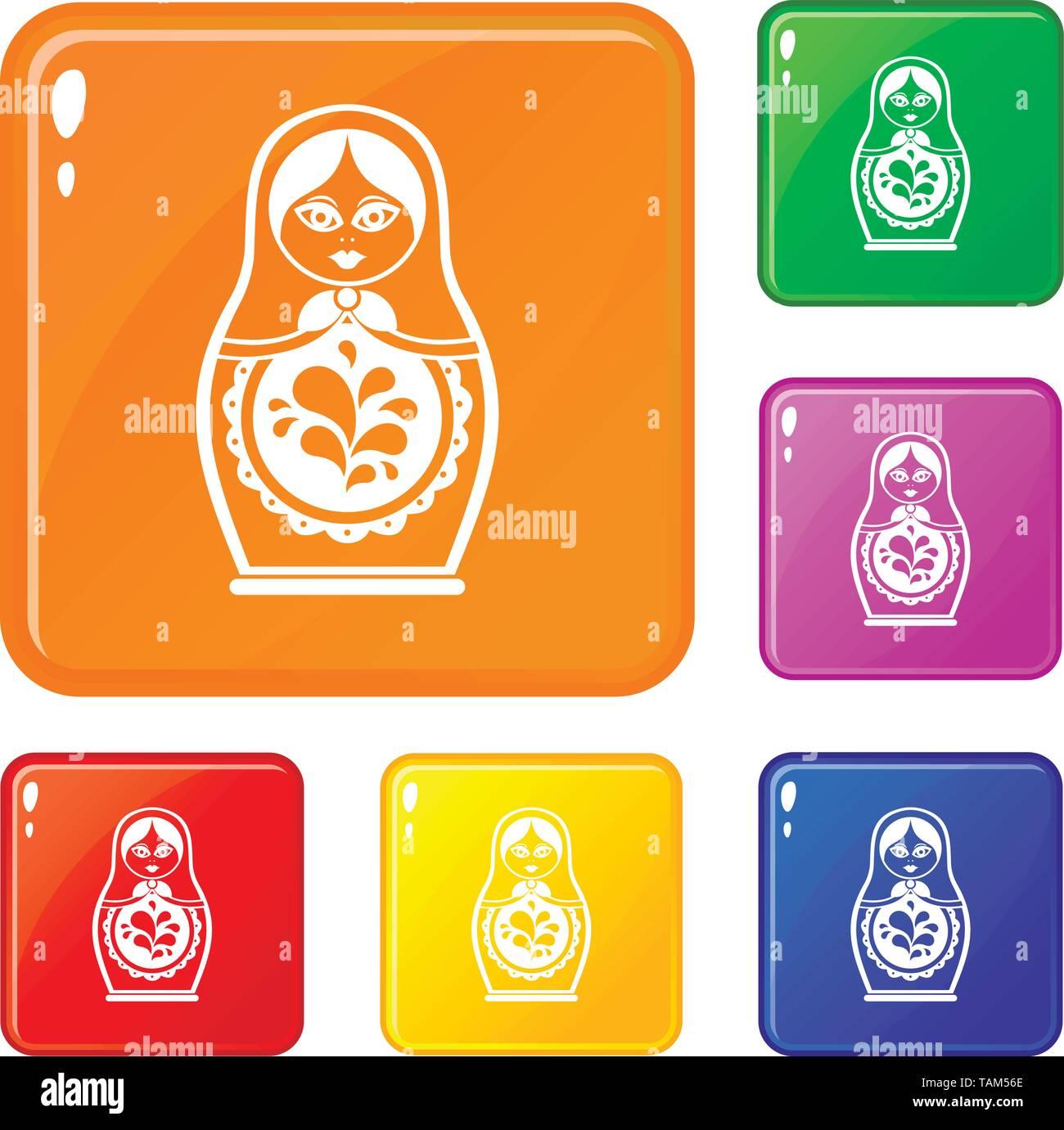 Matryoshka icons set vector color - Stock Image