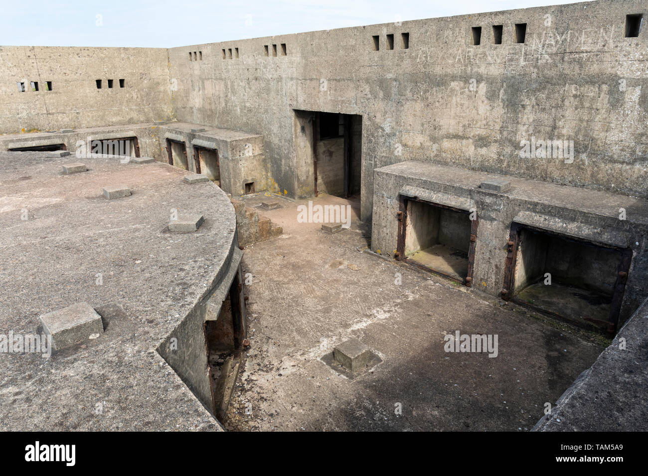 Brean Down Fort interior, Somerset, England - Stock Image
