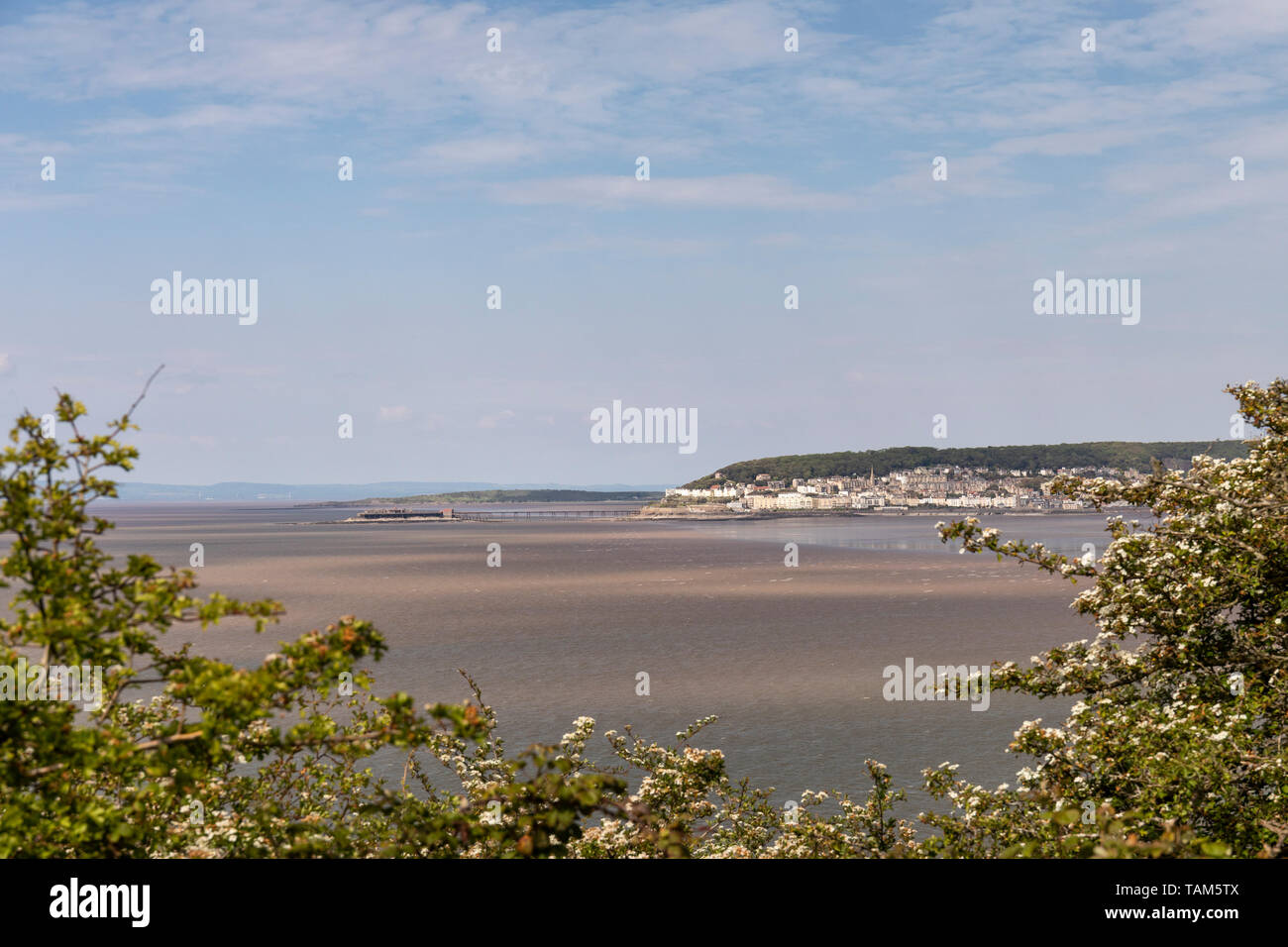 View of Weston Super Mare fron Brean Down Coastal Walk, Somerset, UK - Stock Image