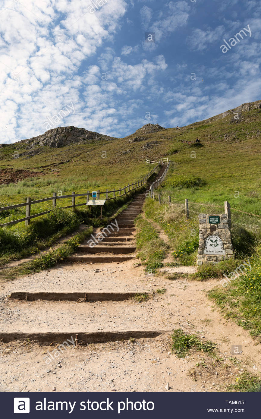 Brean Down steps, Somerset, England - Stock Image
