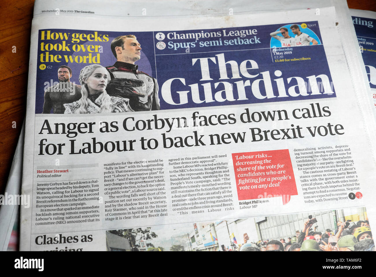 """Anger as Corbyn faces down calls for Labour to back new Brexit vote"" Guardian newspaper headline on 1 May 2019  London England UK Great Britain Stock Photo"