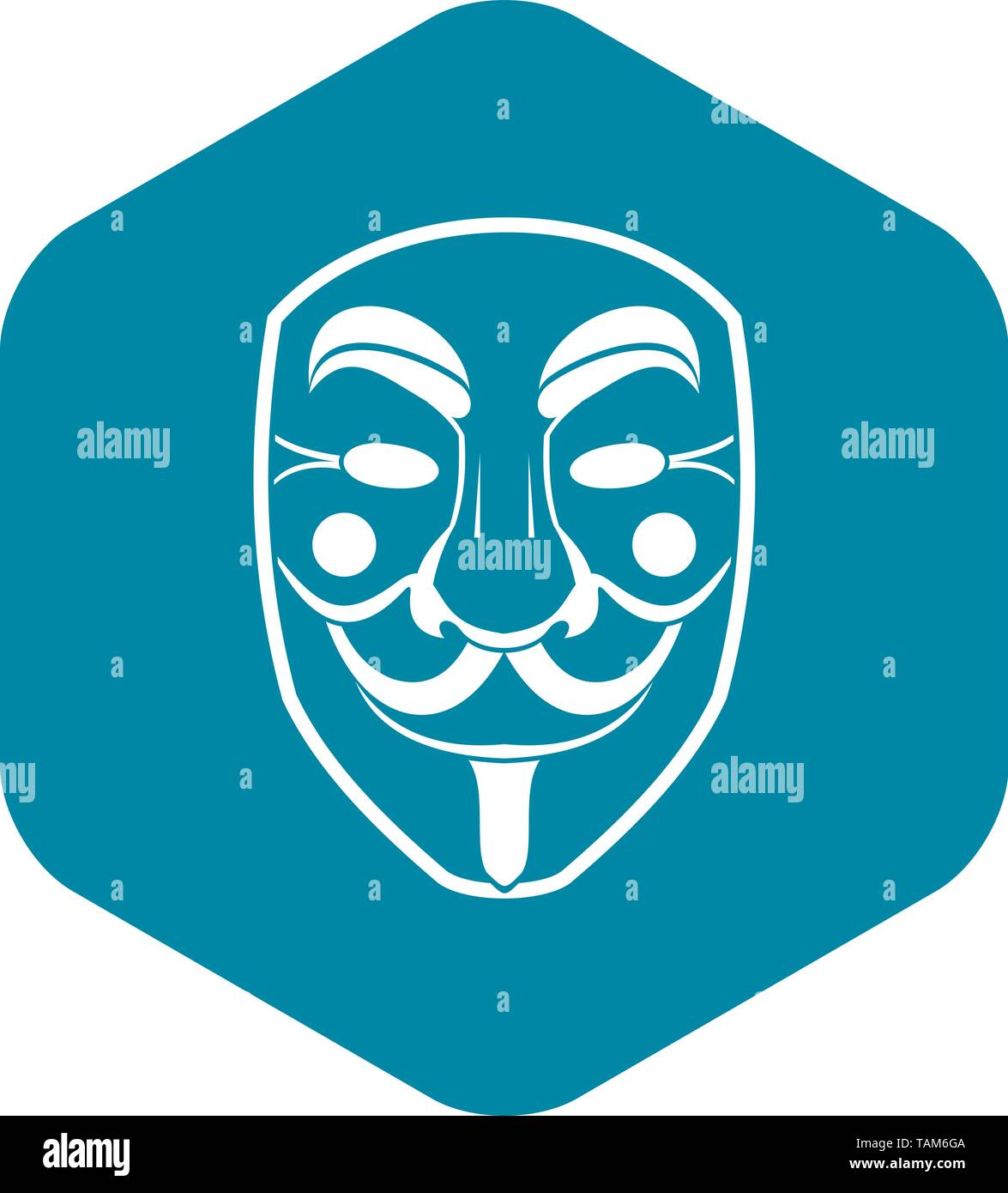 Vendetta mask icon, simple style - Stock Image