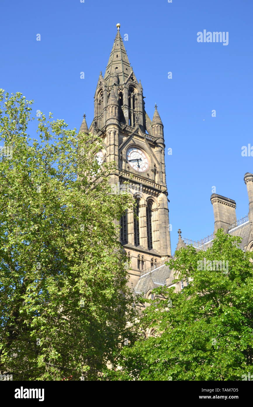 The clock tower of the Town Hall, Manchester, United Kingdom - Stock Image