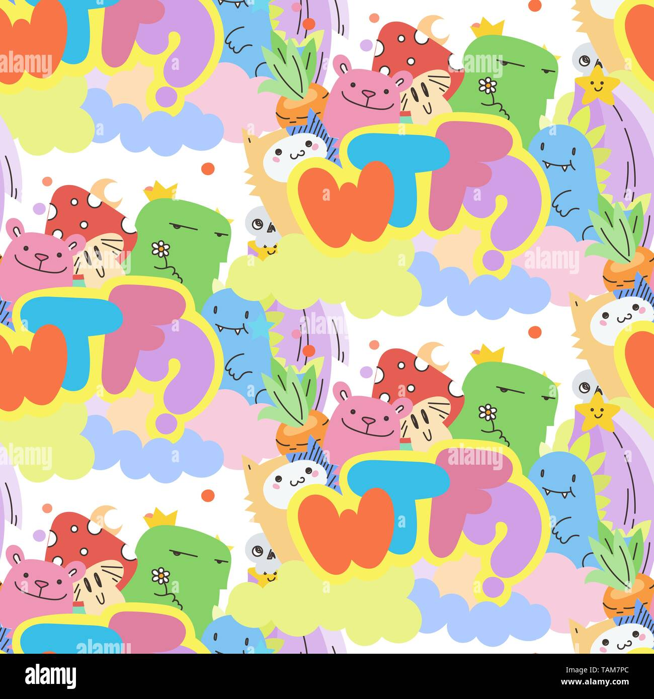 WTF. Seamless vector pattern with cute cartoon monsters and beasts. Nice for packaging, wrapping paper, coloring pages, wallpaper, fabric, fashion, ho - Stock Image