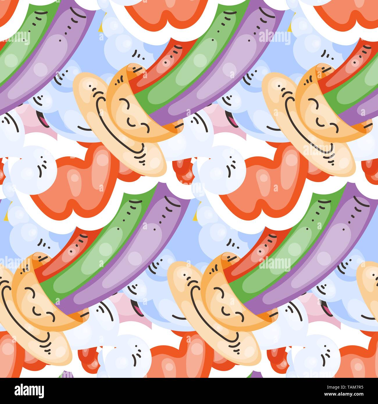 Seamless vector pattern with cute cartoon monsters and beasts. Nice for packaging, wrapping paper, coloring pages, wallpaper, fabric, fashion, home de - Stock Image
