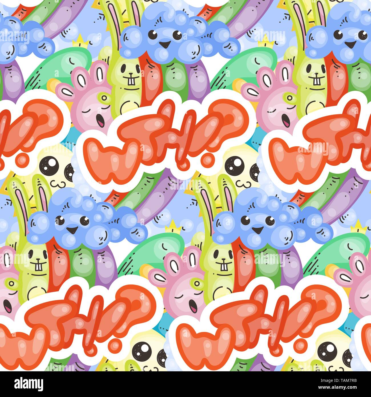 WTH. Seamless vector pattern with cute cartoon monsters and beasts. Nice for packaging, wrapping paper, coloring pages, wallpaper, fabric, fashion, ho - Stock Image