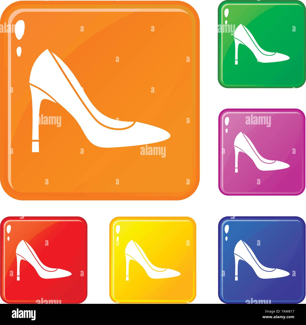 High heel shoe icons set vector color - Stock Image