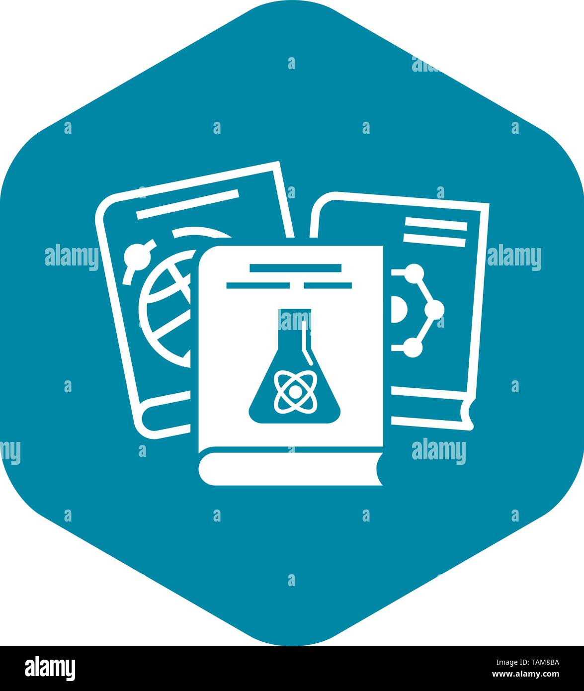 Chemistry books icon, simple style - Stock Image