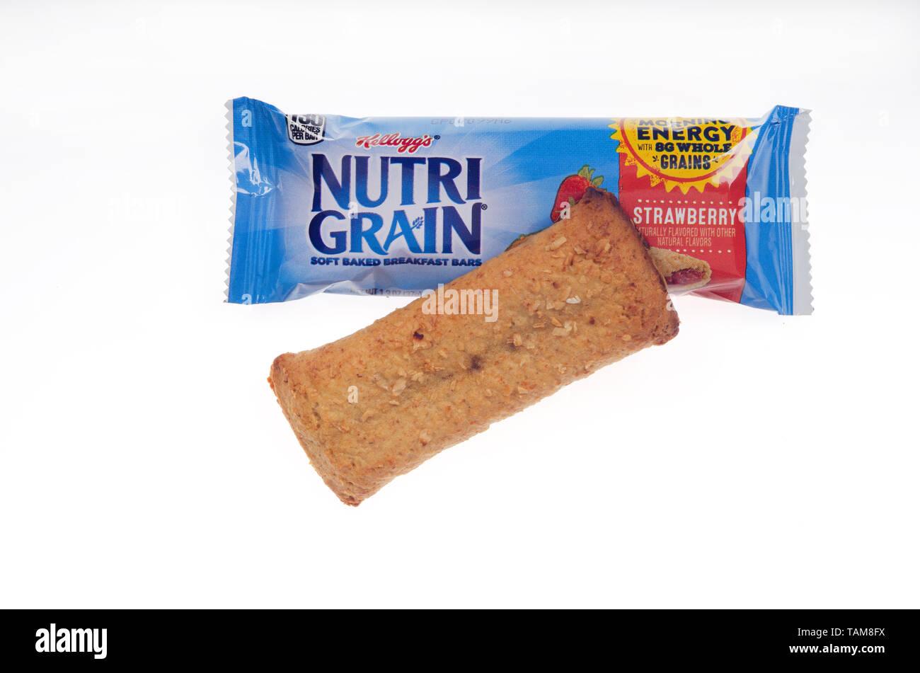 Kellogg's Nutrigrain Strawberry breakfast cereal bar - Stock Image