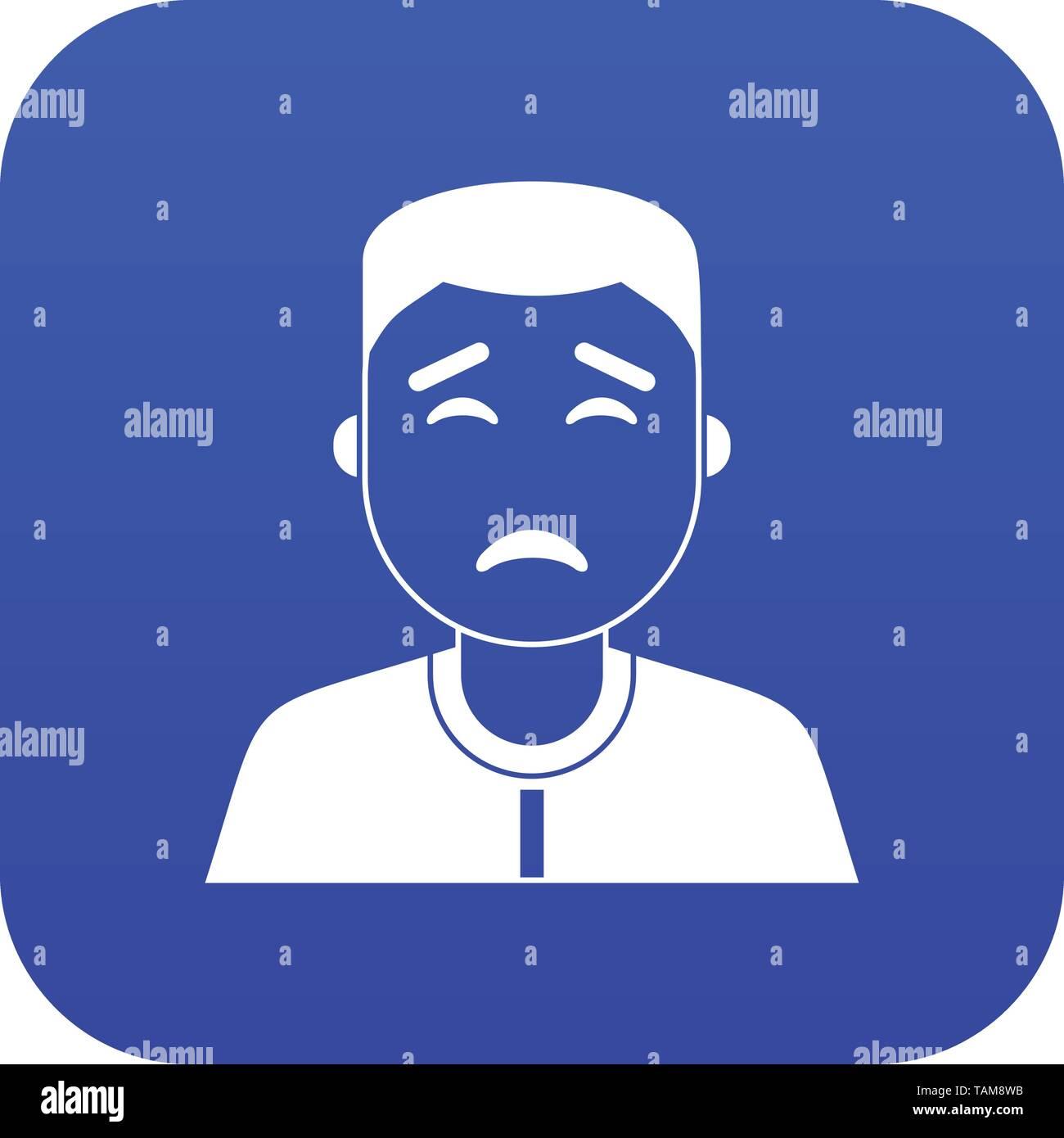 Asian man icon digital blue - Stock Image