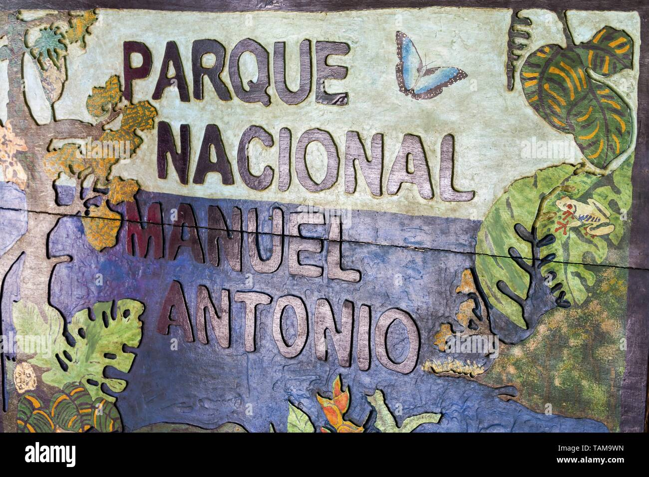 Park Entrance Table to Manuel Antonio National Park on Costa Rica Pacific Coast. The park is famous for vast diversity of tropical plants and wildlife Stock Photo